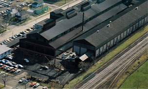 aerial shot of 1912 era plant